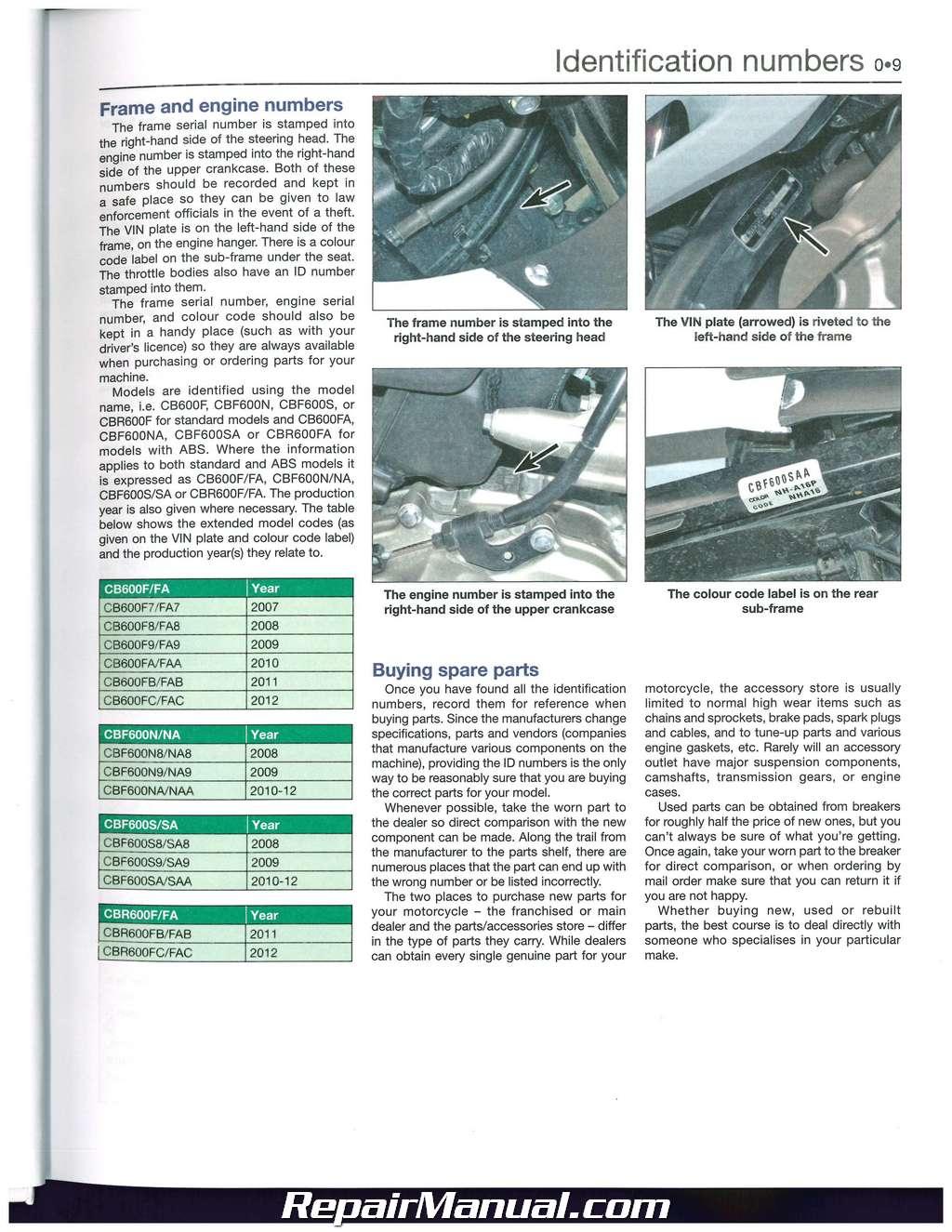 1989 Cbr 600 Service Manual