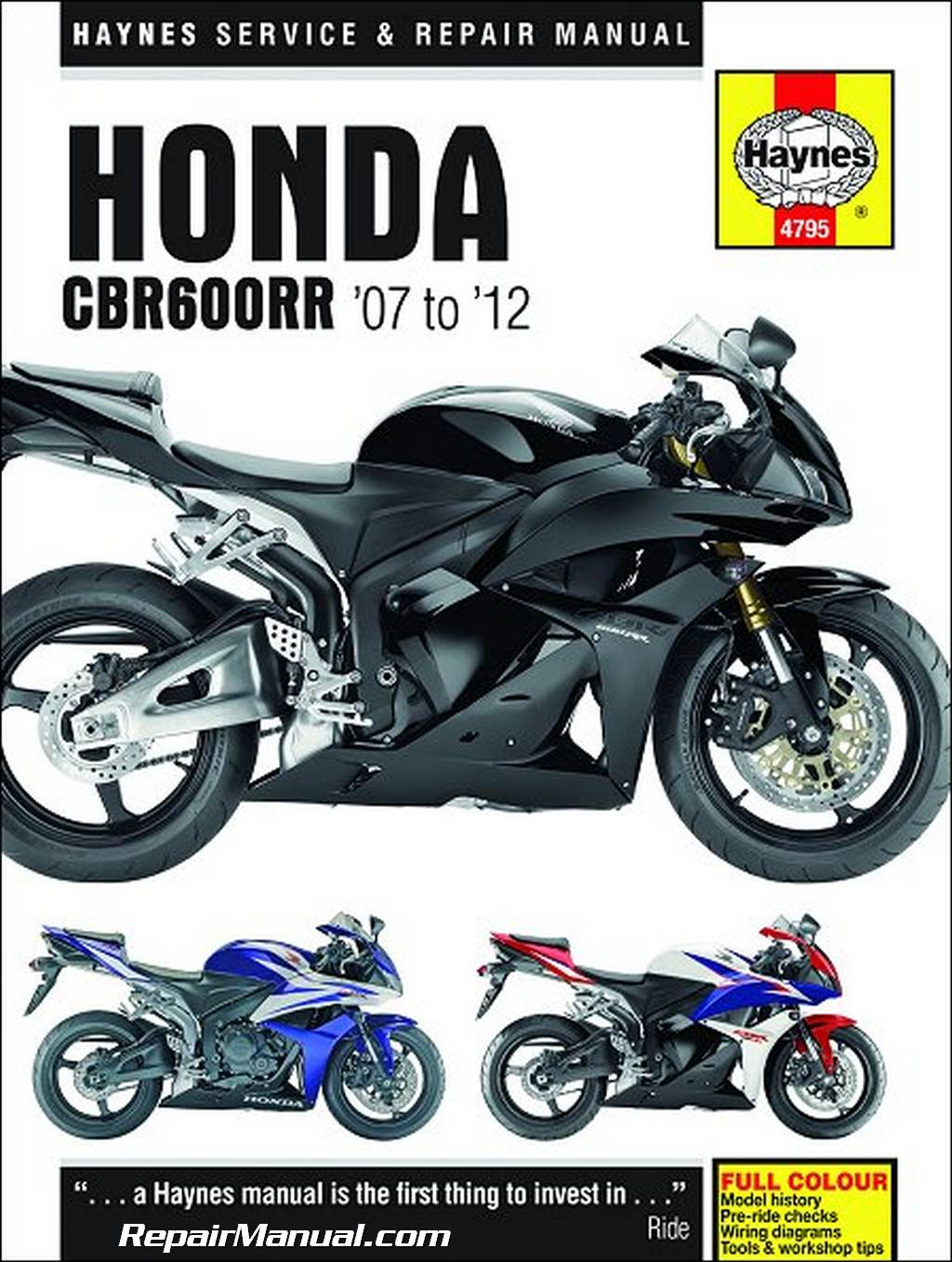 honda cbr600rr haynes motorcycle repair manual 2007 2012. Black Bedroom Furniture Sets. Home Design Ideas