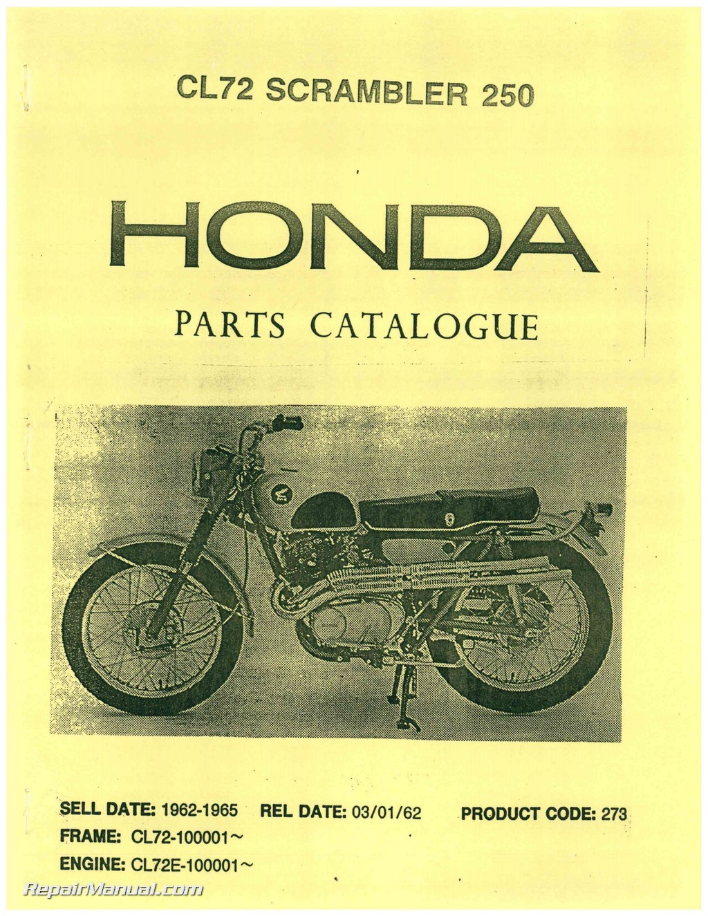 honda cl scrambler parts manual repair manuals online honda cl72 scrambler 250 parts manual page 1
