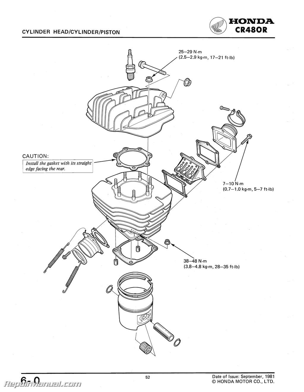 honda cr 480 motorcycle shop manual 1982