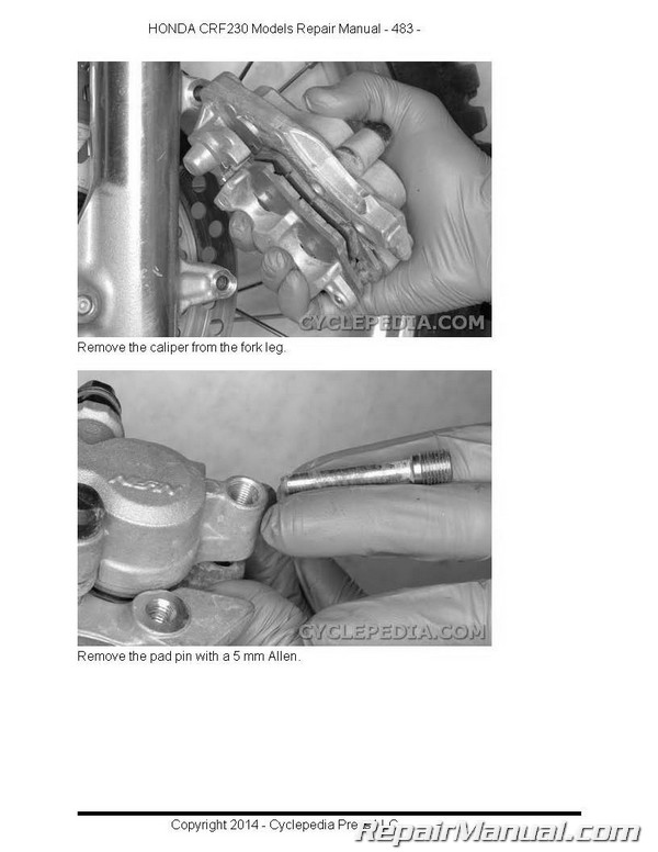 honda crf230 printed cyclepedia motorcycle service manual rh repairmanual com honda crf230f service manual pdf 2017 Honda CRF 230