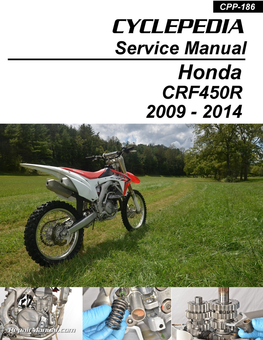 honda crf450r 2009 2014 motorcycle service manual by cyclepedia rh repairmanual com 2017 Honda CRF450R Honda Motocross