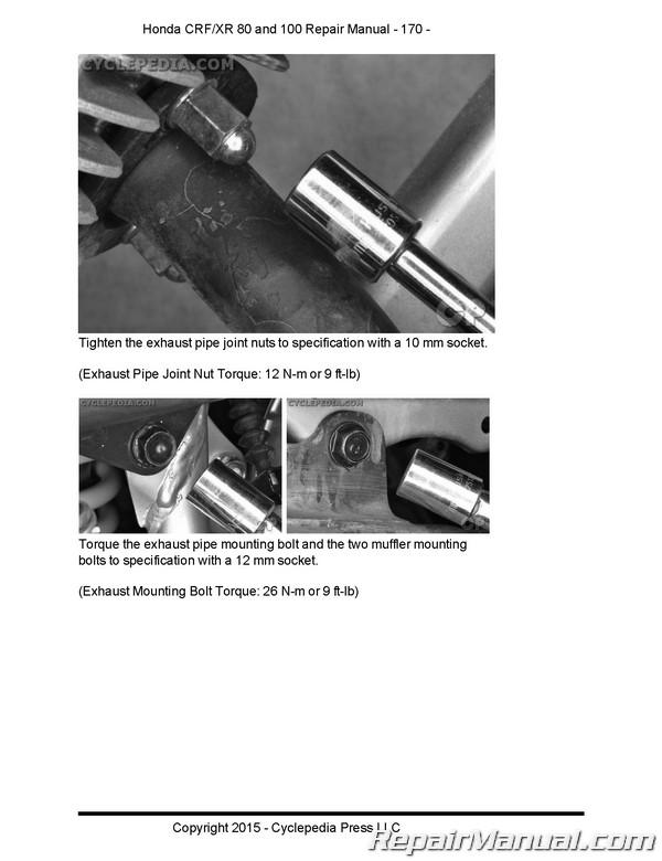 Honda Crf80f Crf100f Xr80r Xr100r Cyclepedia Printed Service Manual