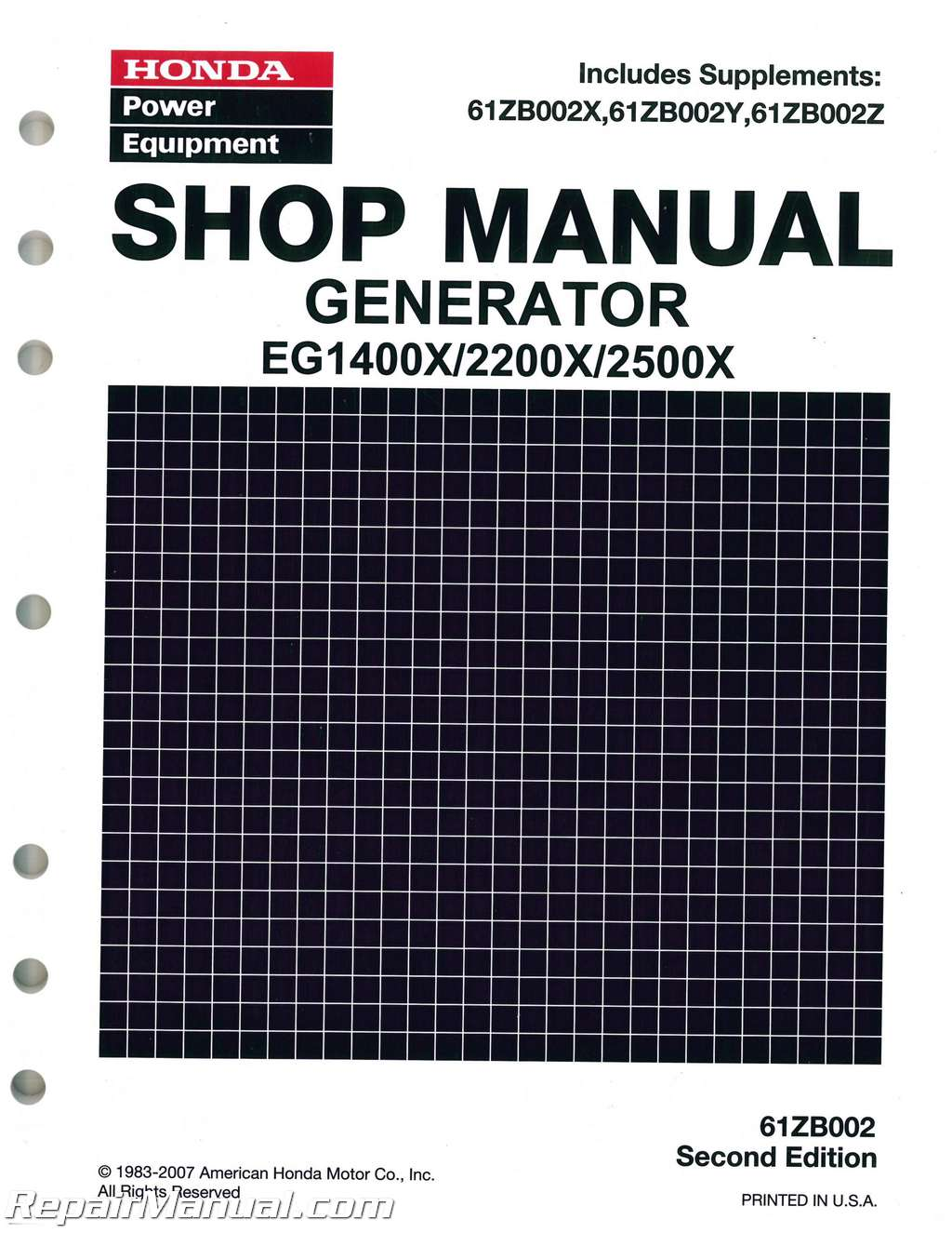 Honda EG1400X EG2200X And EG2500X Generator Shop Manual
