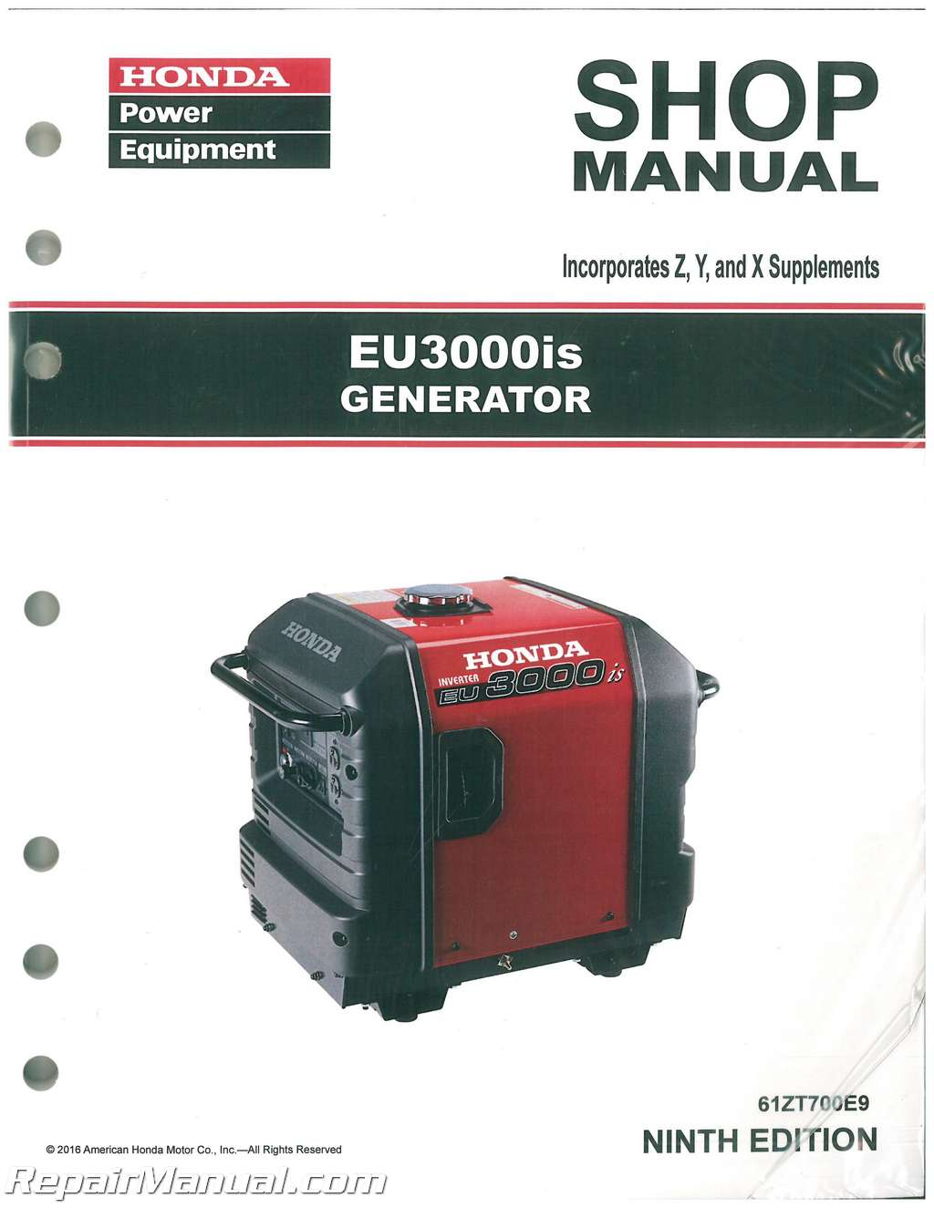 honda eu3000is generator shop manual rh repairmanual com Honda Motorcycle Manuals Honda Manual Book
