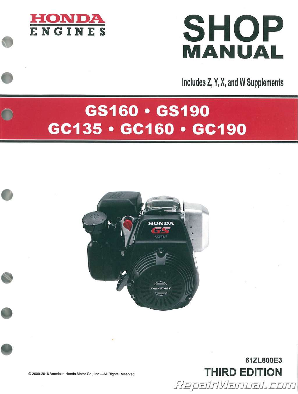 Honda Vin Decoder >> Honda GC135 GC160 GC190 GS160 GS190 Engine Shop Manual