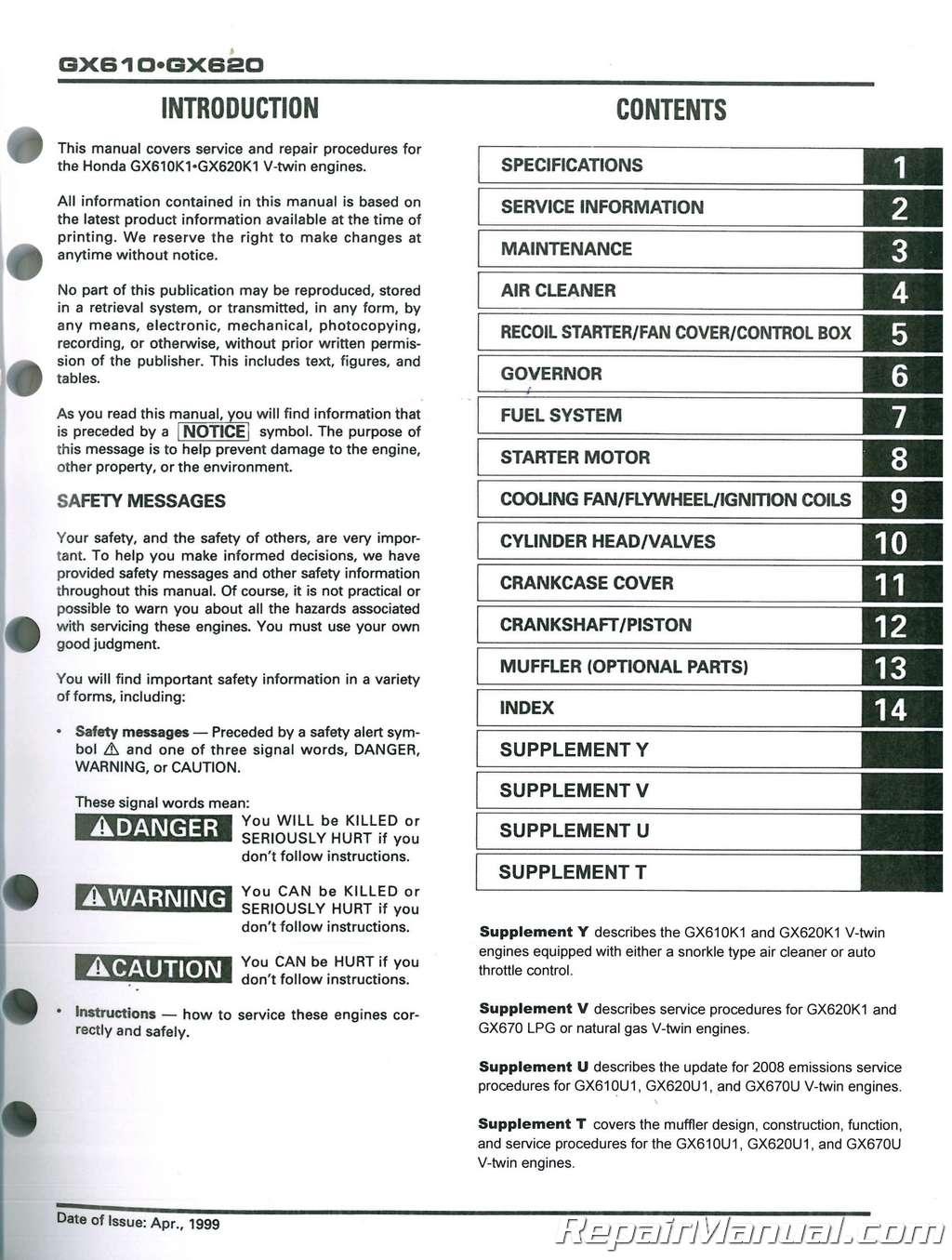 Honda Gx610k1 Gx620k1 Engine Shop Manual Gx670 Wiring Diagram