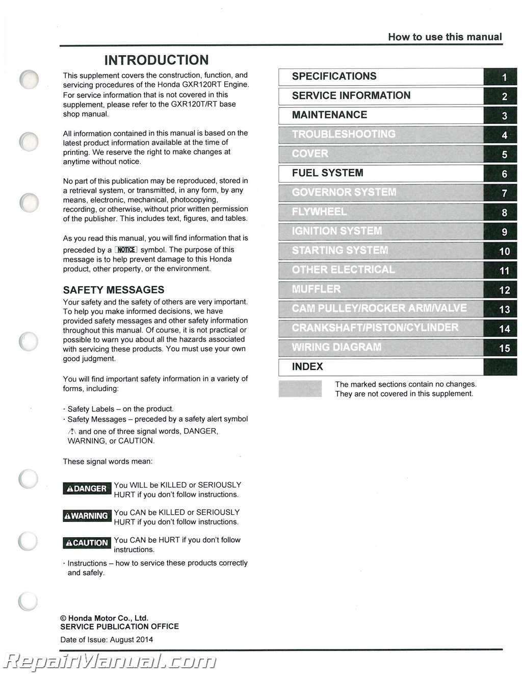 Honda Gxr1200rt Rammer General Purpose Engine Shop Manual Wiring Diagram