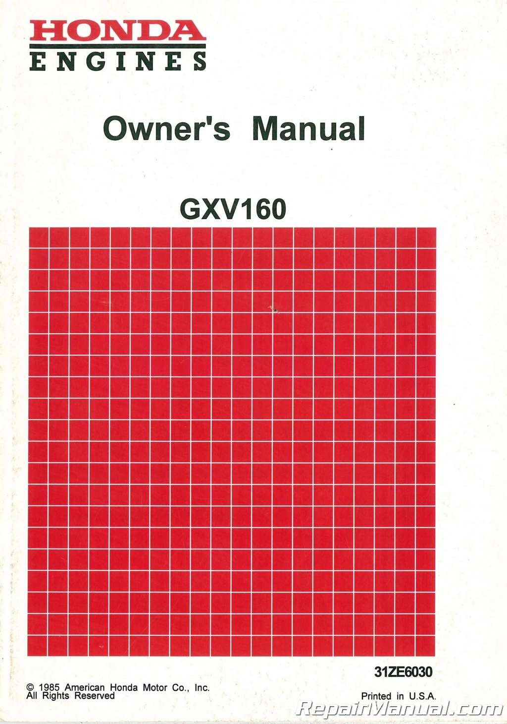 used honda gxv120 gxv160 engine owners manual rh repairmanual com Parts Manual Service ManualsOnline