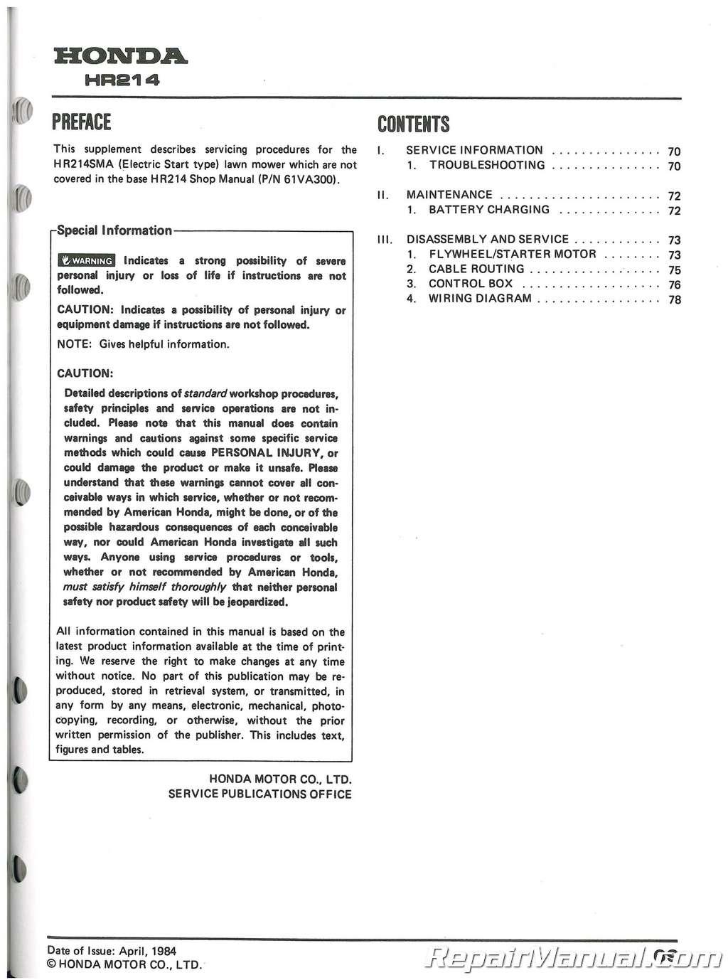 61VA302 Honda HR194 HR214 HRA194 And HRA214 Lawn Mower Shop Manual