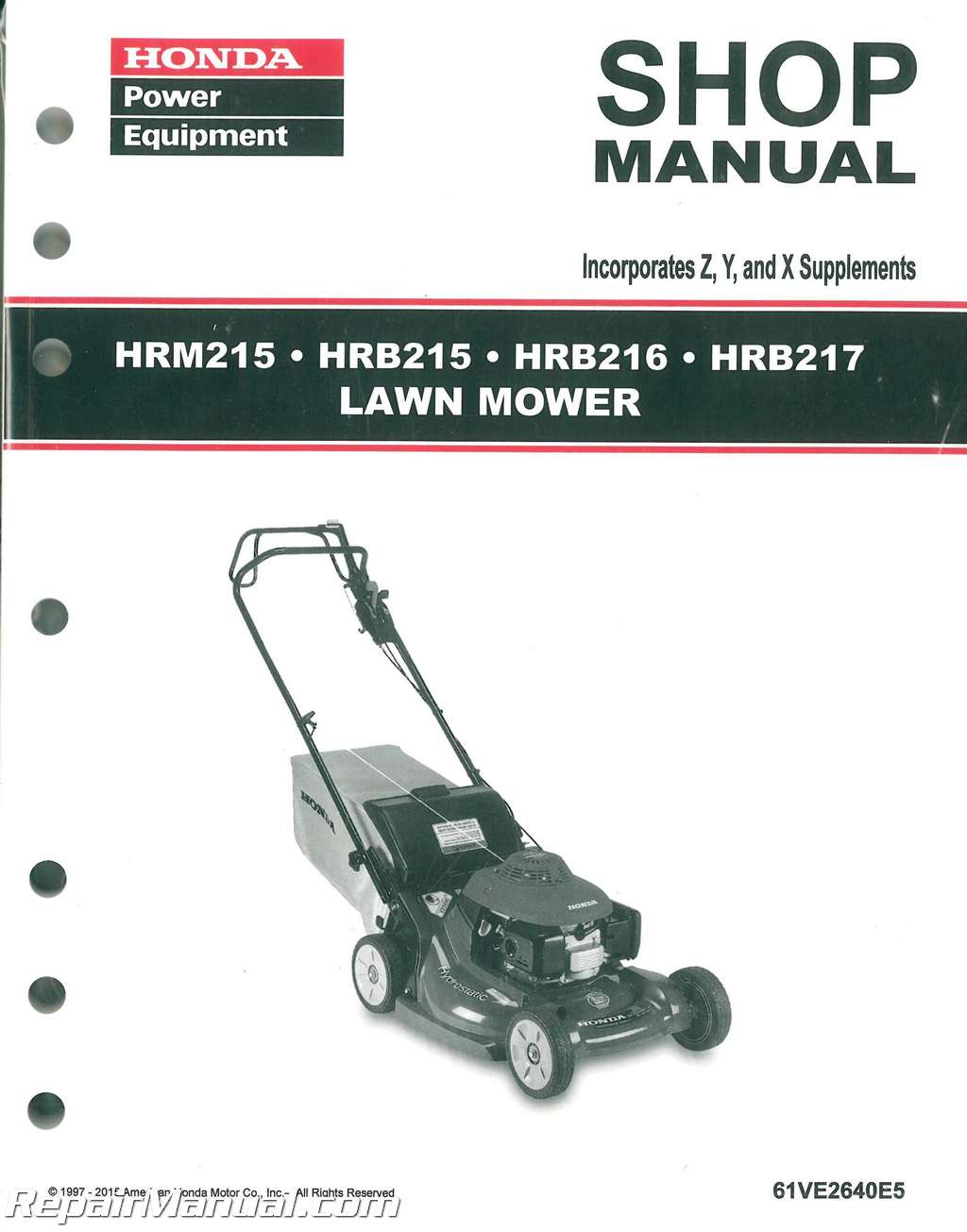 Honda Hrb215 Hrm215 Hrb216 Hrb217 Lawn Mower Shop Manual