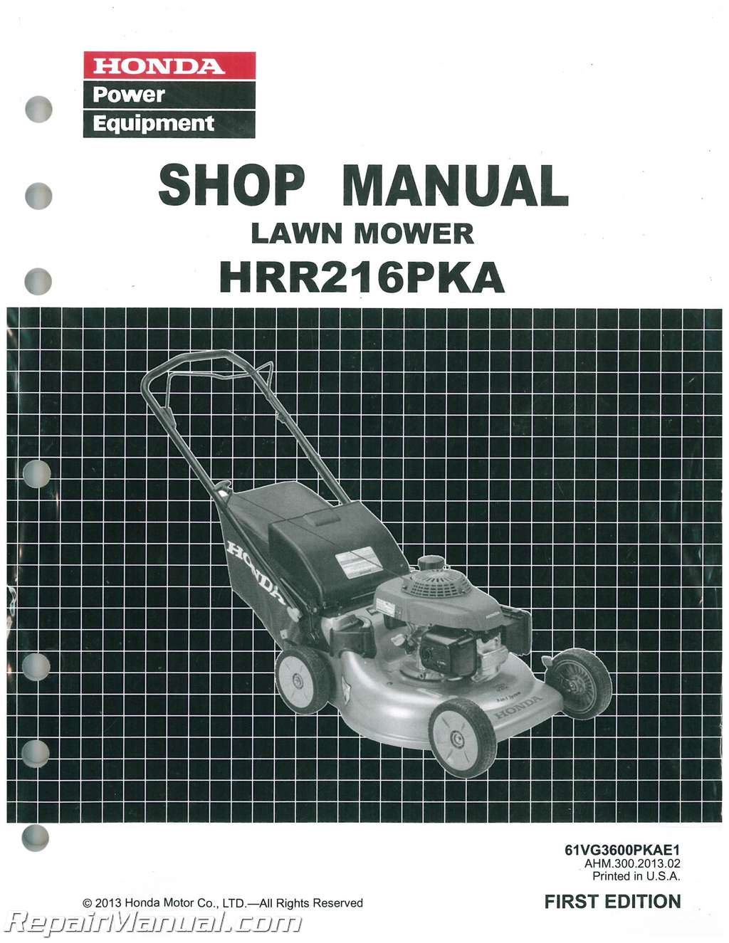 Honda Hrr216pka K8 K9 Lawn Mower Shop Manual