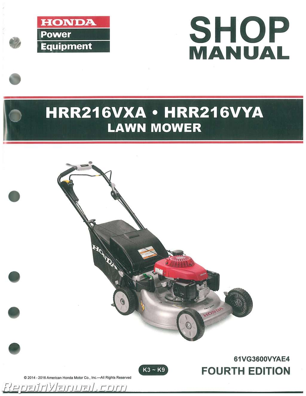 honda hrr216vxa hrr216vya service manual rh repairmanual com Honda Motorcycle Service Manual PDF Helm Service Manuals Honda