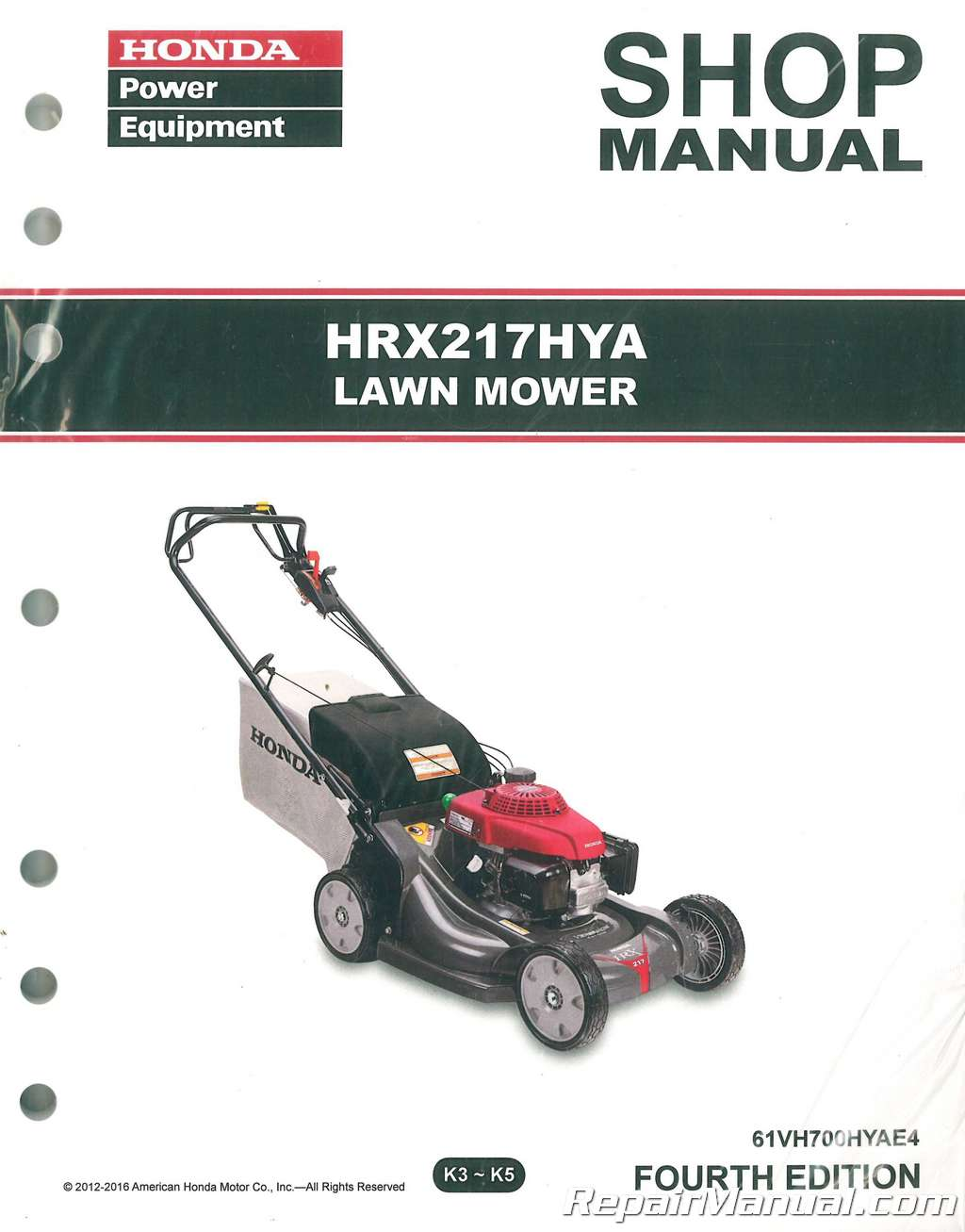 Honda Hrx217 Hya Lawn Mower Repair Service Shop Manual Parts Diagram