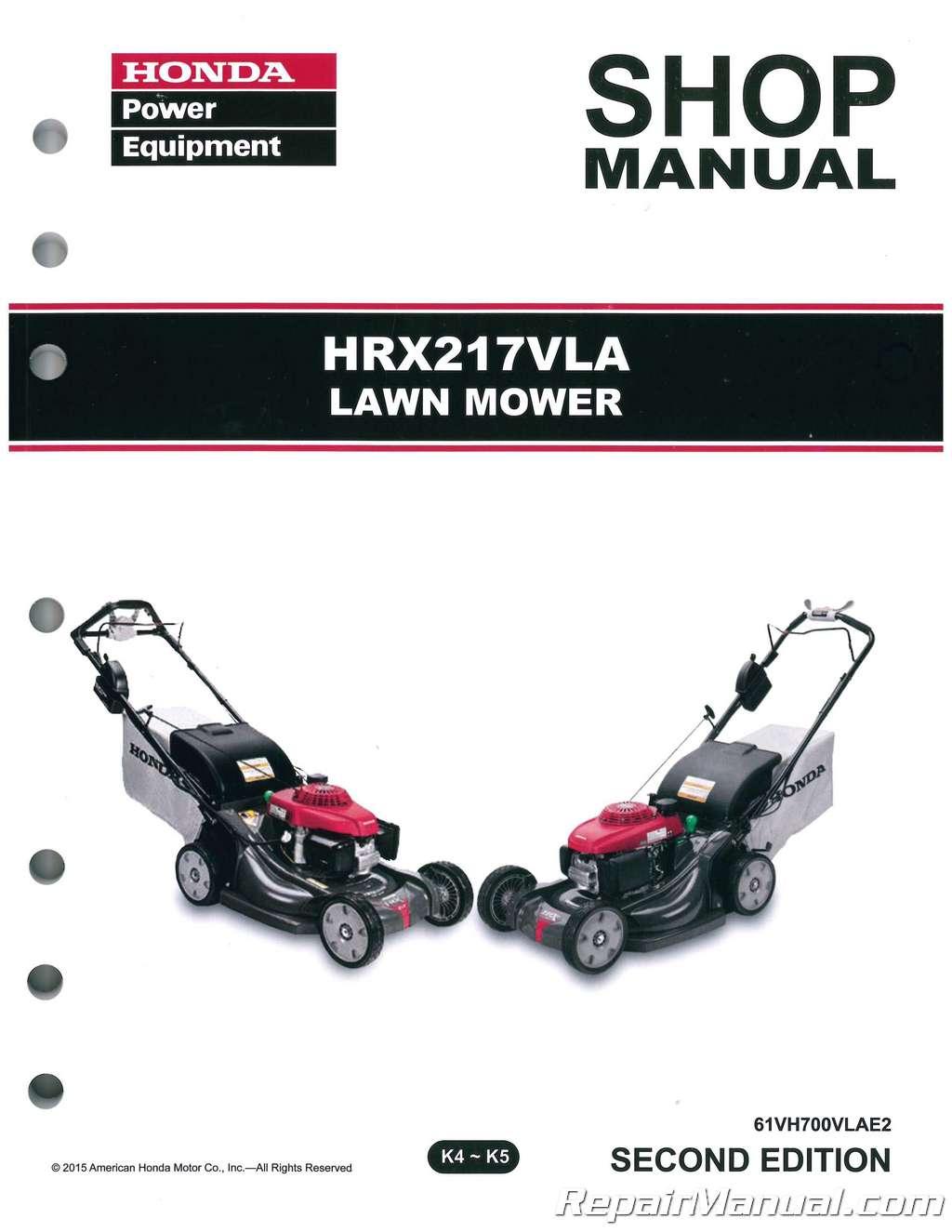 Honda Hrx217 Vla Lawn Mower Repair Service Shop Manual