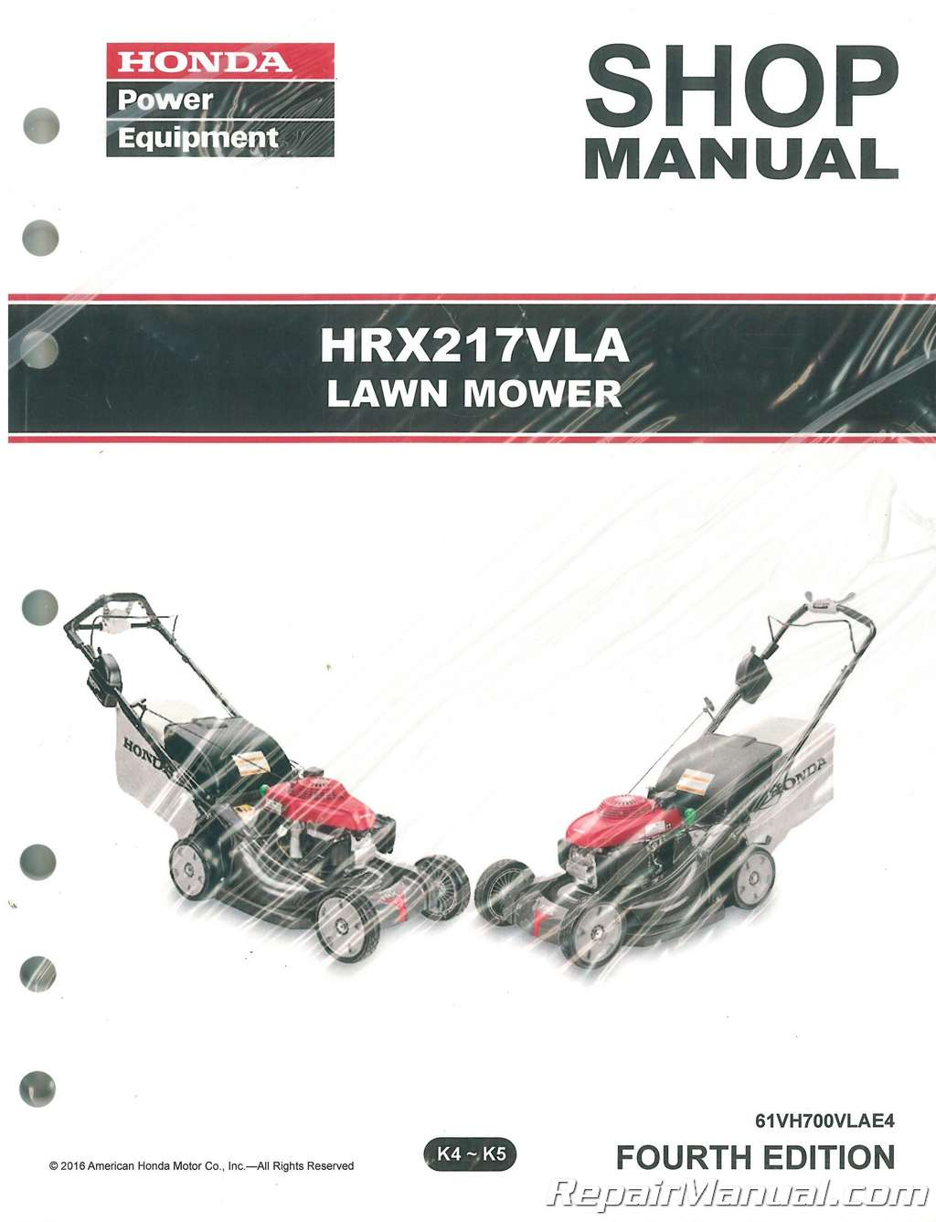 honda hrx217 vla lawn mower repair service shop manual rh repairmanual com Push Reel Lawn Mower Manual Manual Push Mower Blades