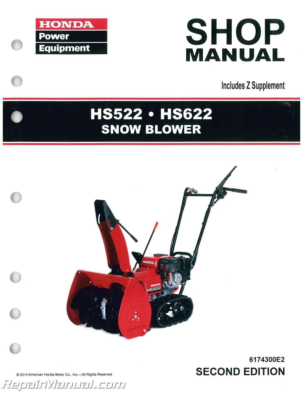 honda hs522 hs622 snowblower shop manual rh repairmanual com honda hs928 service manual honda hs928 shop manual download