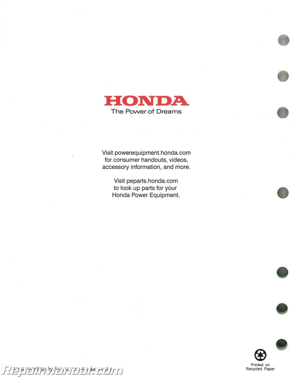 Honda Hs624 Hs724 Hs828 Hs928 Hs1132 Snowblower Shop Manual