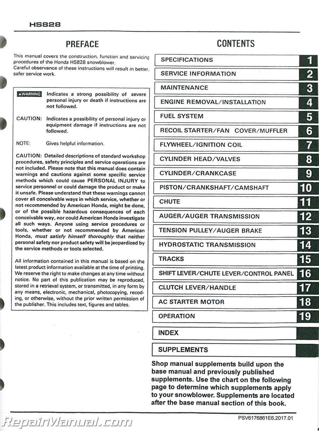 honda hs624 hs724 hs828 hs928 hs1132 snowblower shop manual rh repairmanual com honda hs928 snowblower service manual honda hs928 service manual