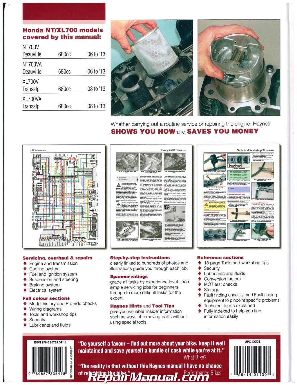 Honda 2006-2013 NT700V Deauville & 2008-2013 XL700 Transalp Motorcycle  Repair Manual