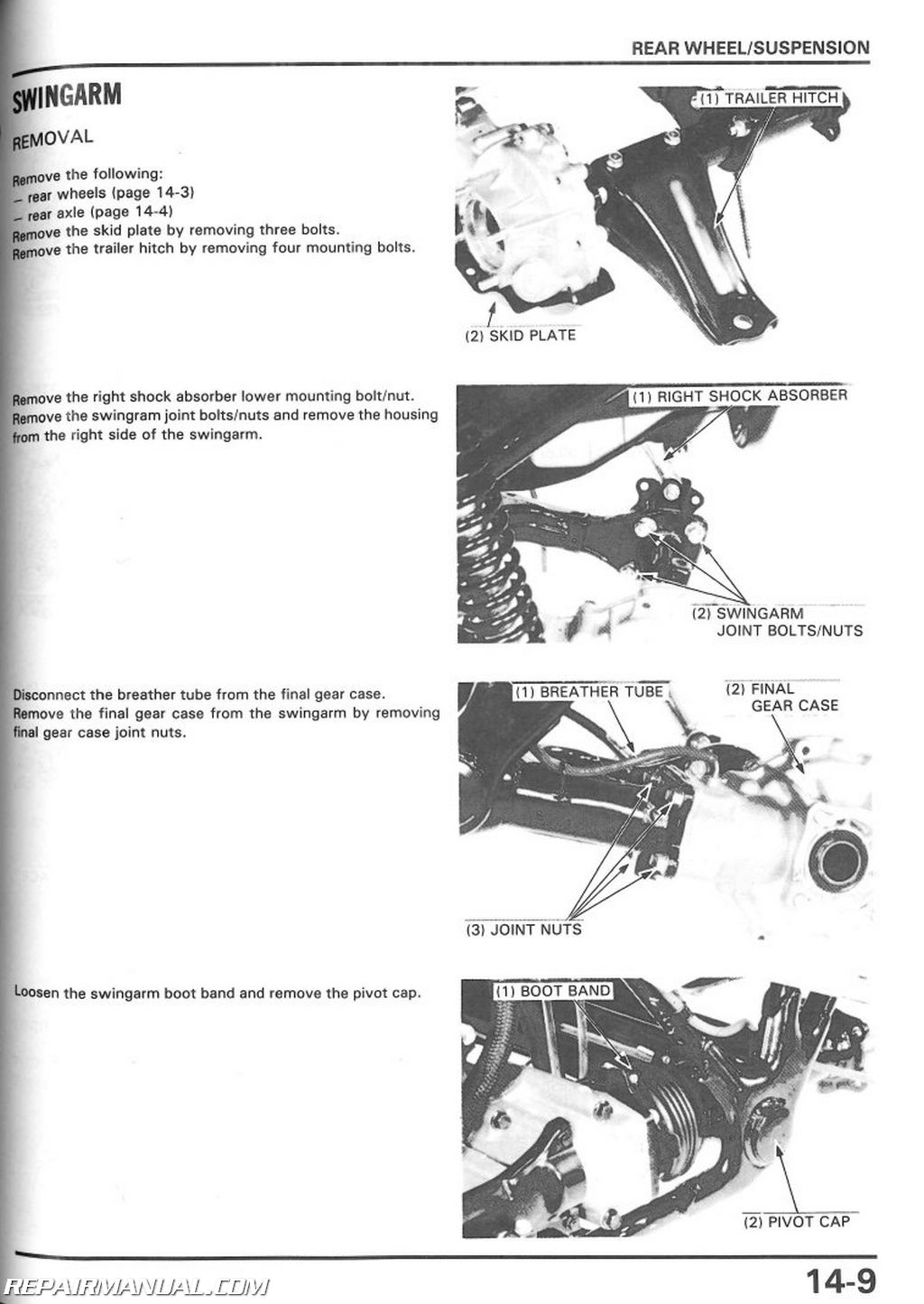 1986-1989 Honda TRX350 D Fourtrax Foreman ATV Repair Manual