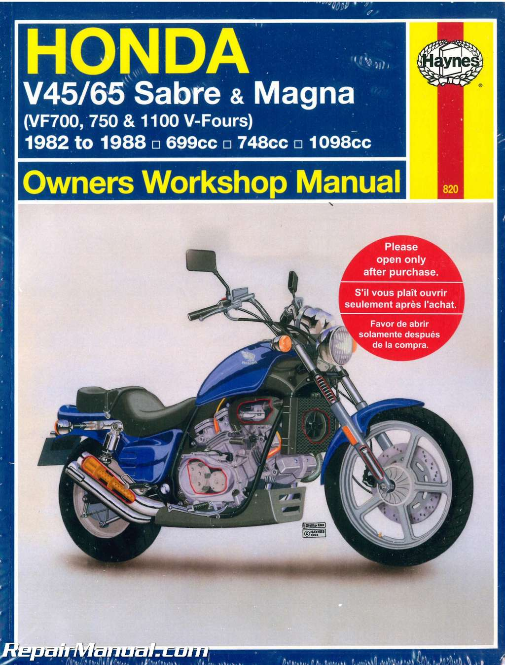 Honda V45 V65 VF700 750 1100 Sabre Magna V-Fours 1982-1988 Haynes  Motorcycle Repair Manual