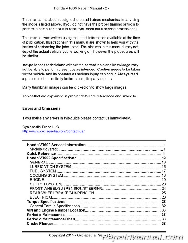 honda vt600 shadow cyclepedia printed motorcycle service manual rh repairmanual com honda maintenance manual pdf honda repair manual