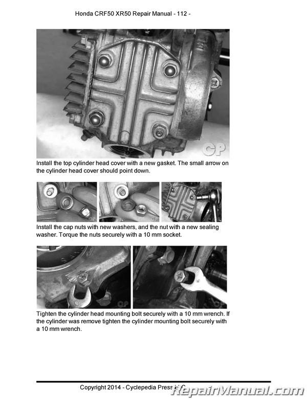 Honda Xr50 Crf50 Motorcycle Cyclepedia Printed Service