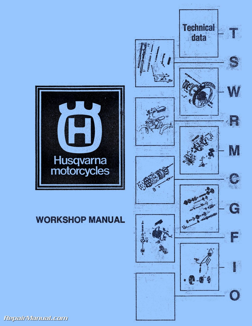 Husqvarna CR WR RT Motorcycle Manual 125 175 250 360 390 400 450 460cc  1973-1979