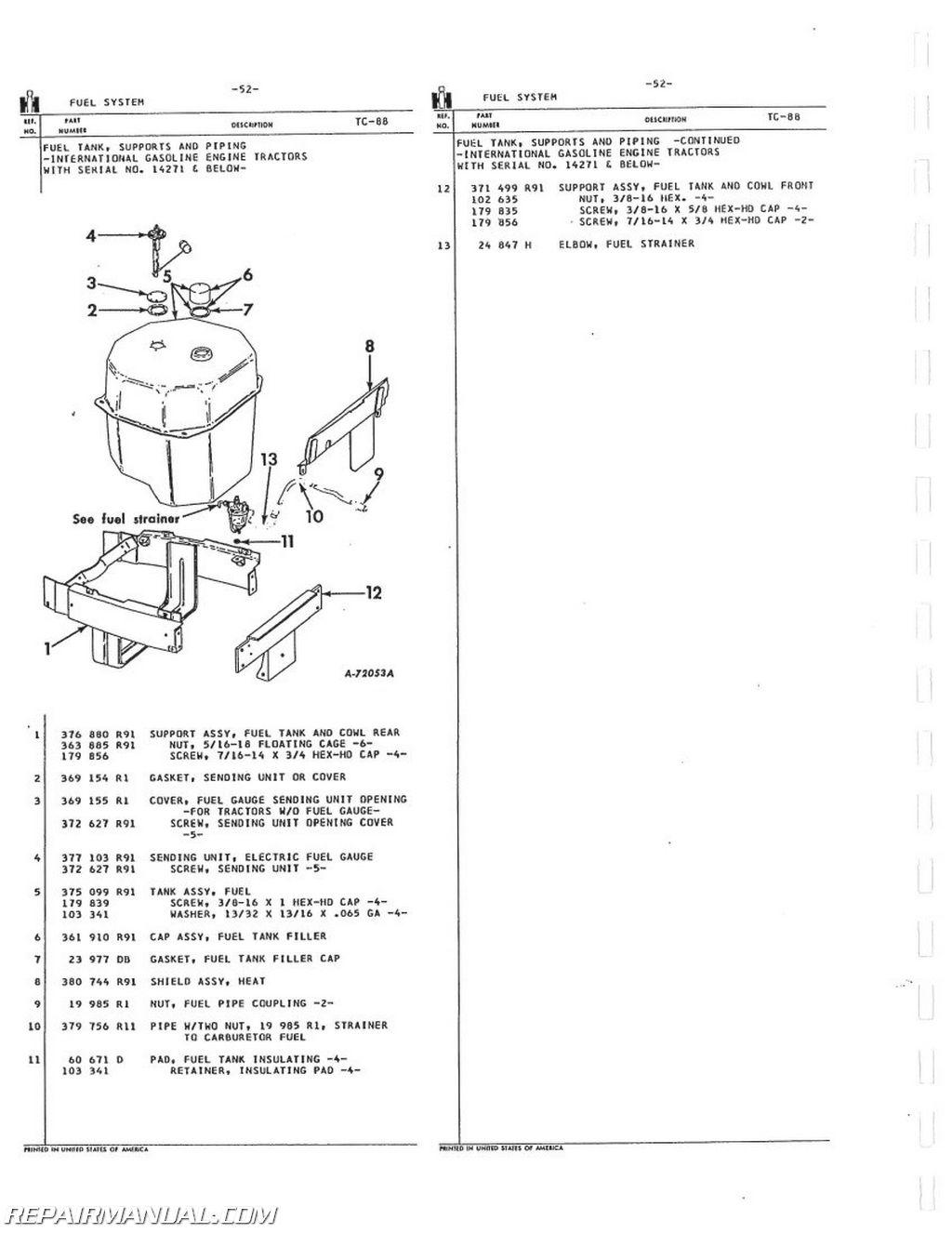 International Harvester 504 2504 Gas LP and Dsl Parts Manual