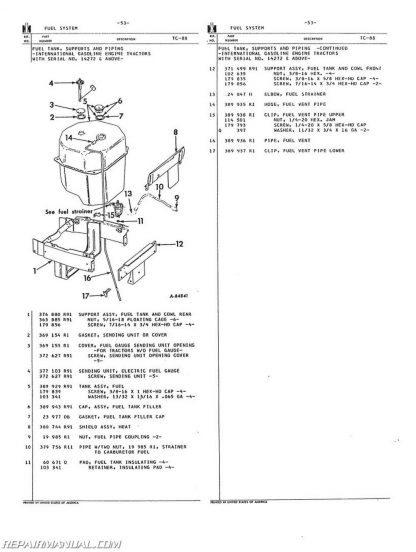 international harvester 504 2504 gas lp and dsl parts manual  504 international tractor parts diagram #12