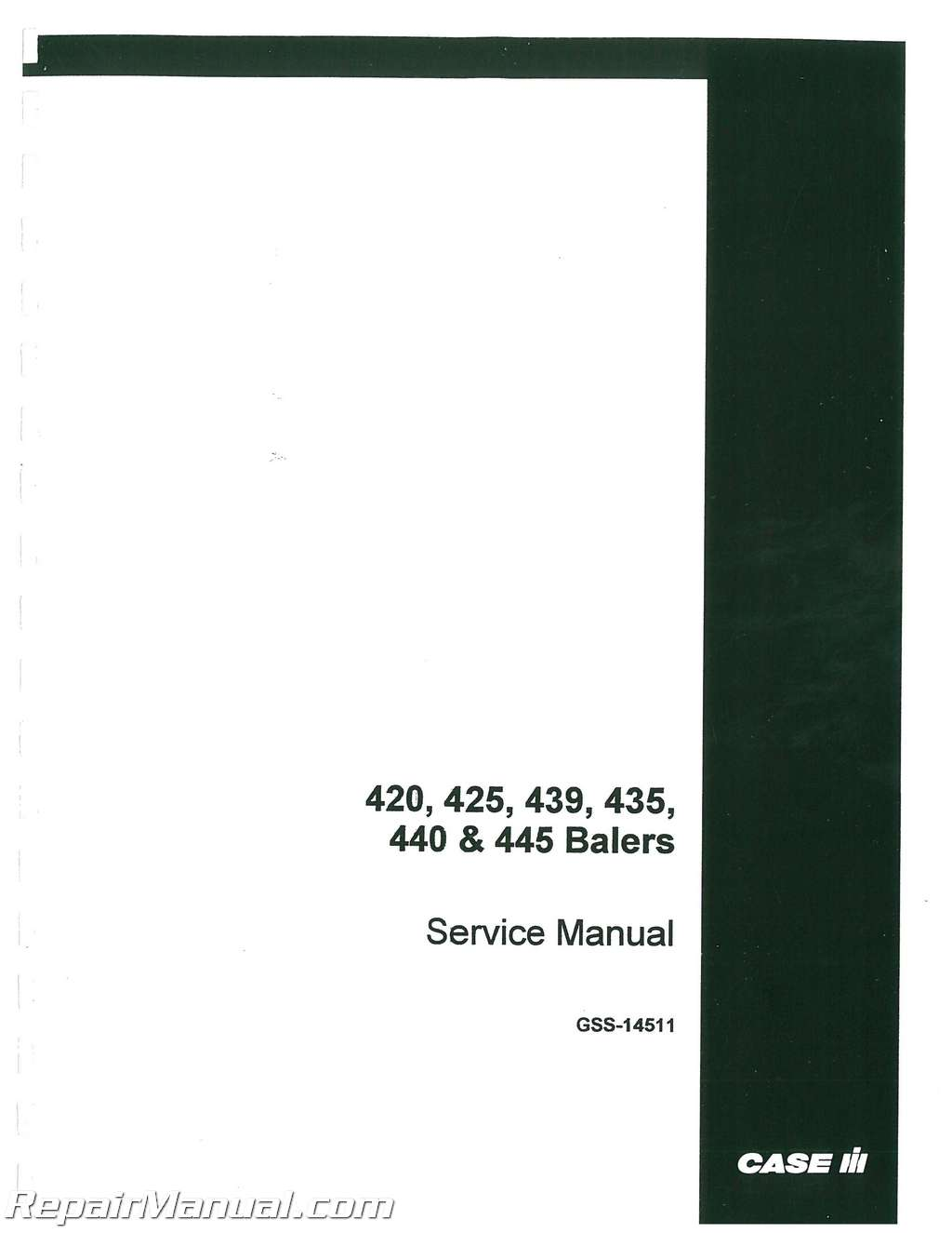 International Harvester 420 425 430 435 440 445 Twine and Wire Baler  Service Manual