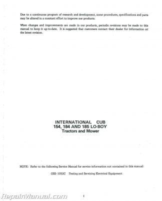 International Harvester Cub 154 184 185 LoBoy Service Manual