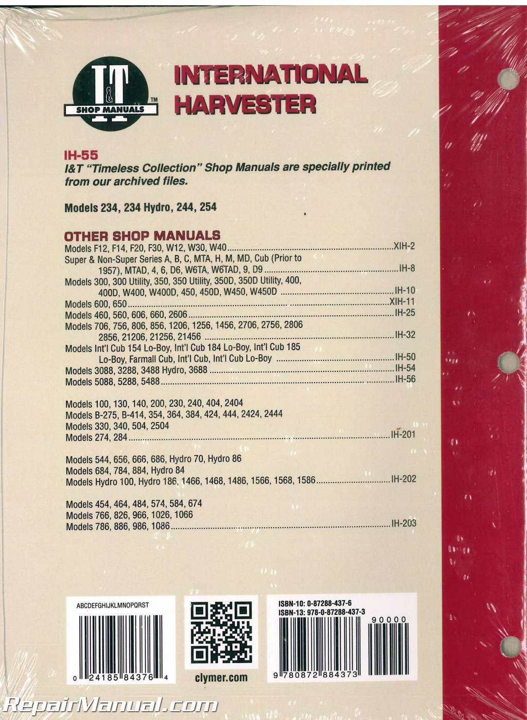 International Harvester 234 234 Hydro 244 254 Tractor Manual