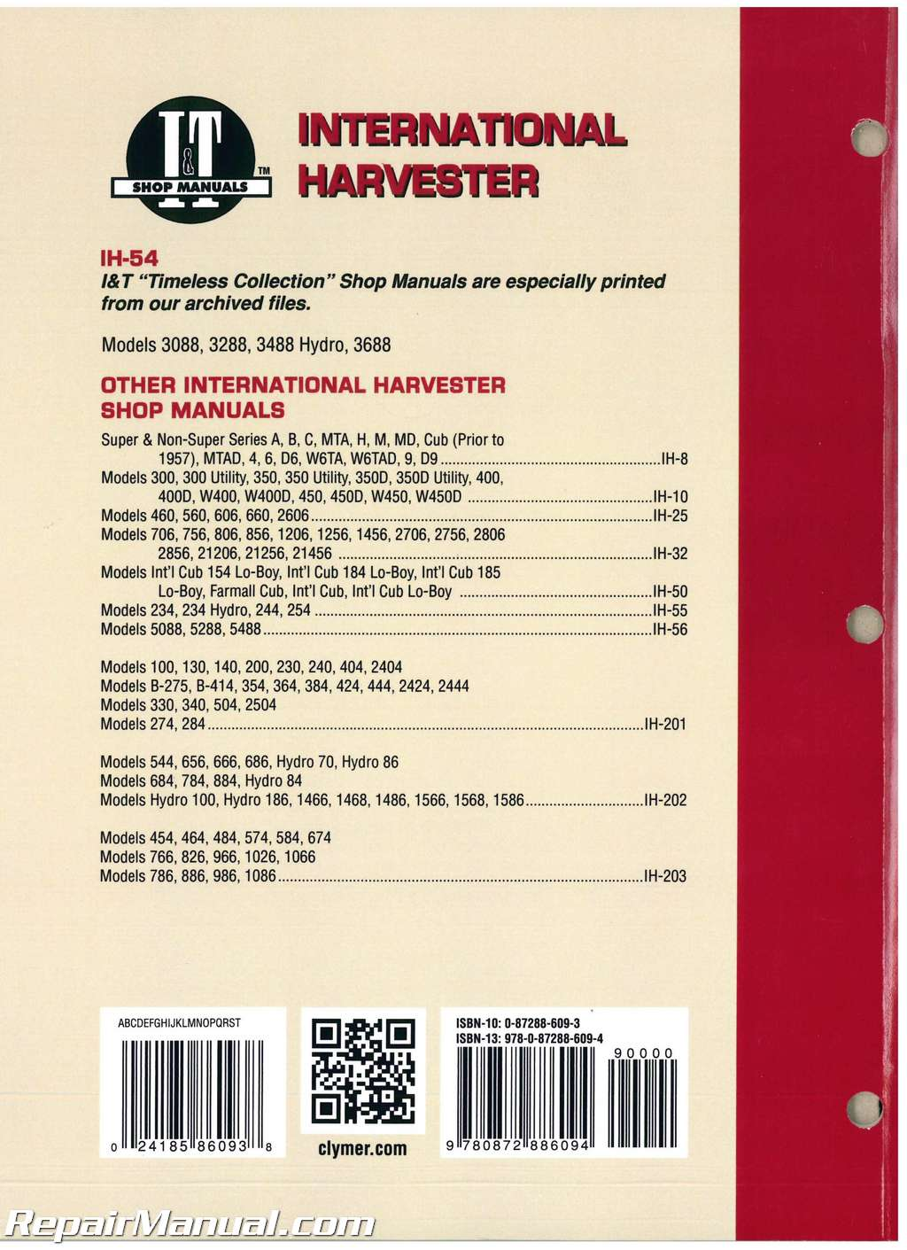 International Harvester 3088  3288  3488 Hydro  3688