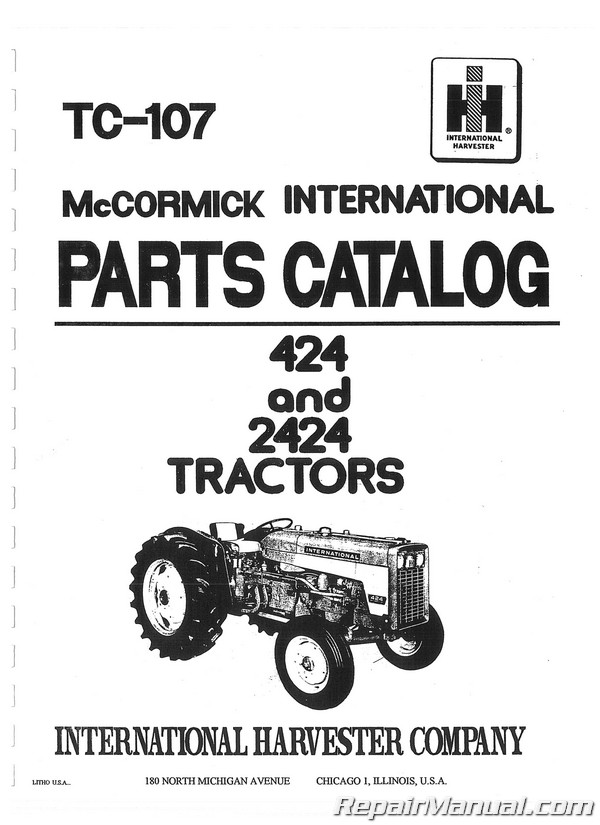 international harvester 424 2424 tractor parts manual  ih 424 parts diagram #1