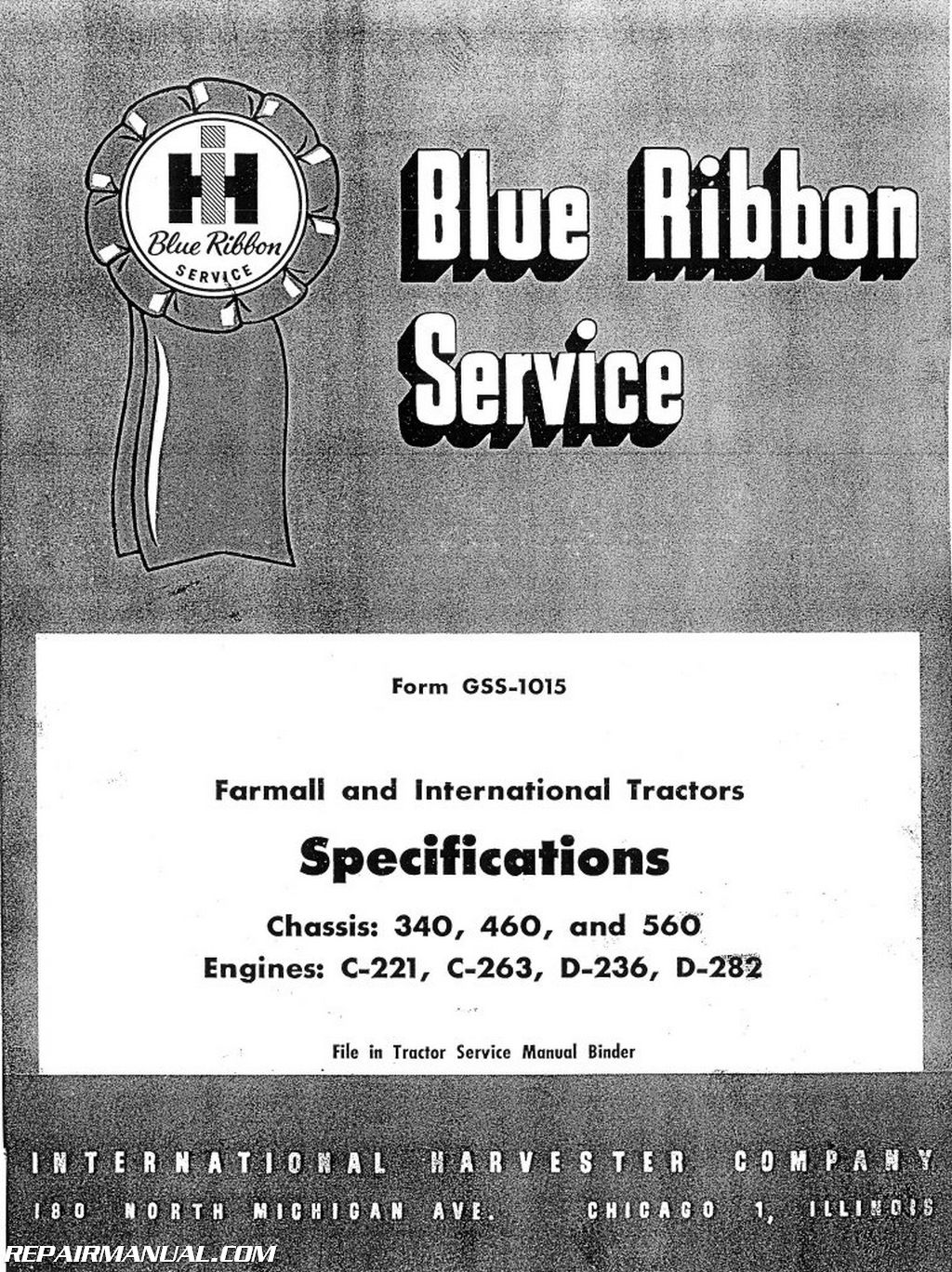 international harvester 340 460 560 tractor service manual two rh repairmanual com Shop Manuals 1404 Shop Manual Design