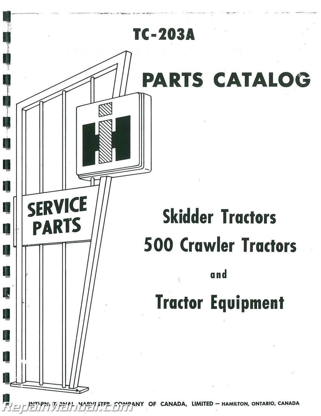 international harvester 500 crawler gas diesel parts manual