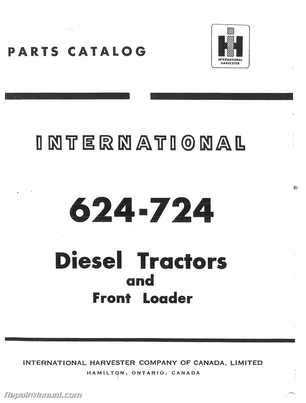 international harvester 624 724 diesel with front loader parts manual rh repairmanual com McCormick International 10 Grain Drill McCormick Tractor Parts