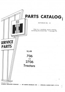 International Harvester 706 And 2706 Gas And Diesel Factory Parts Manual Js Ih P 706