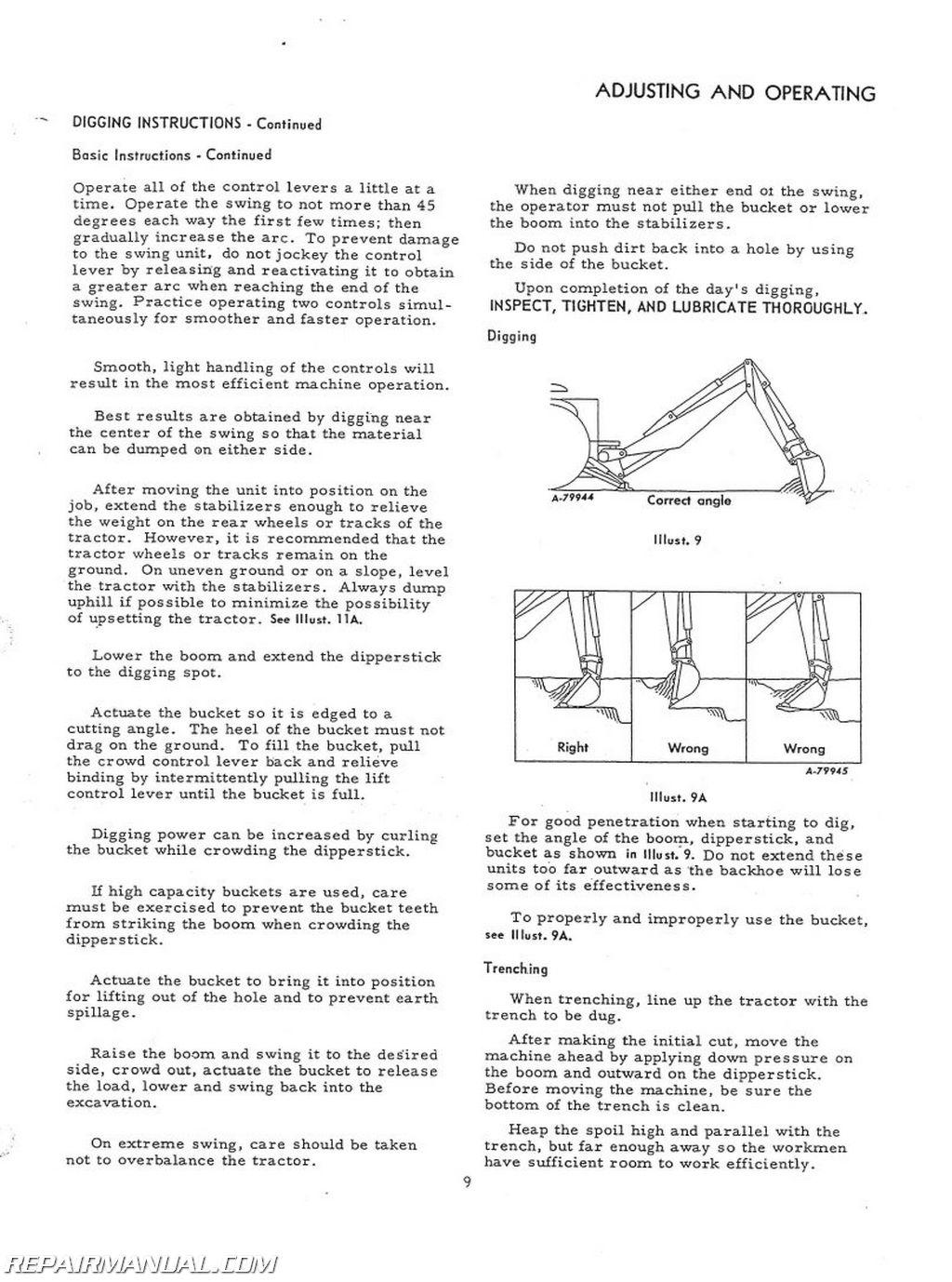 International Harvester Backhoe Attachment Operators Manual