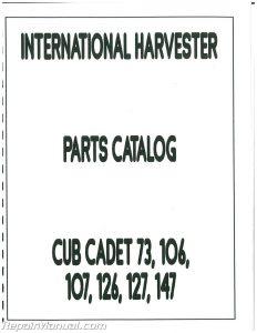 International Harvester Cub Cadet 73 126 127 147 Parts Manual