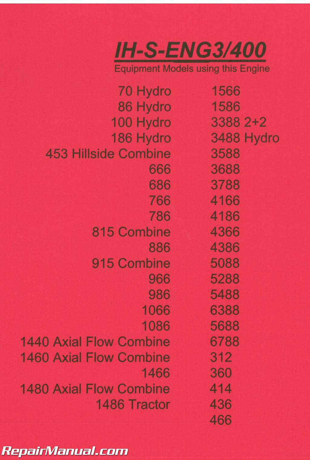 International Harvester 300 and 400 Series Diesel Engines and Fuel Systems  Service Manual