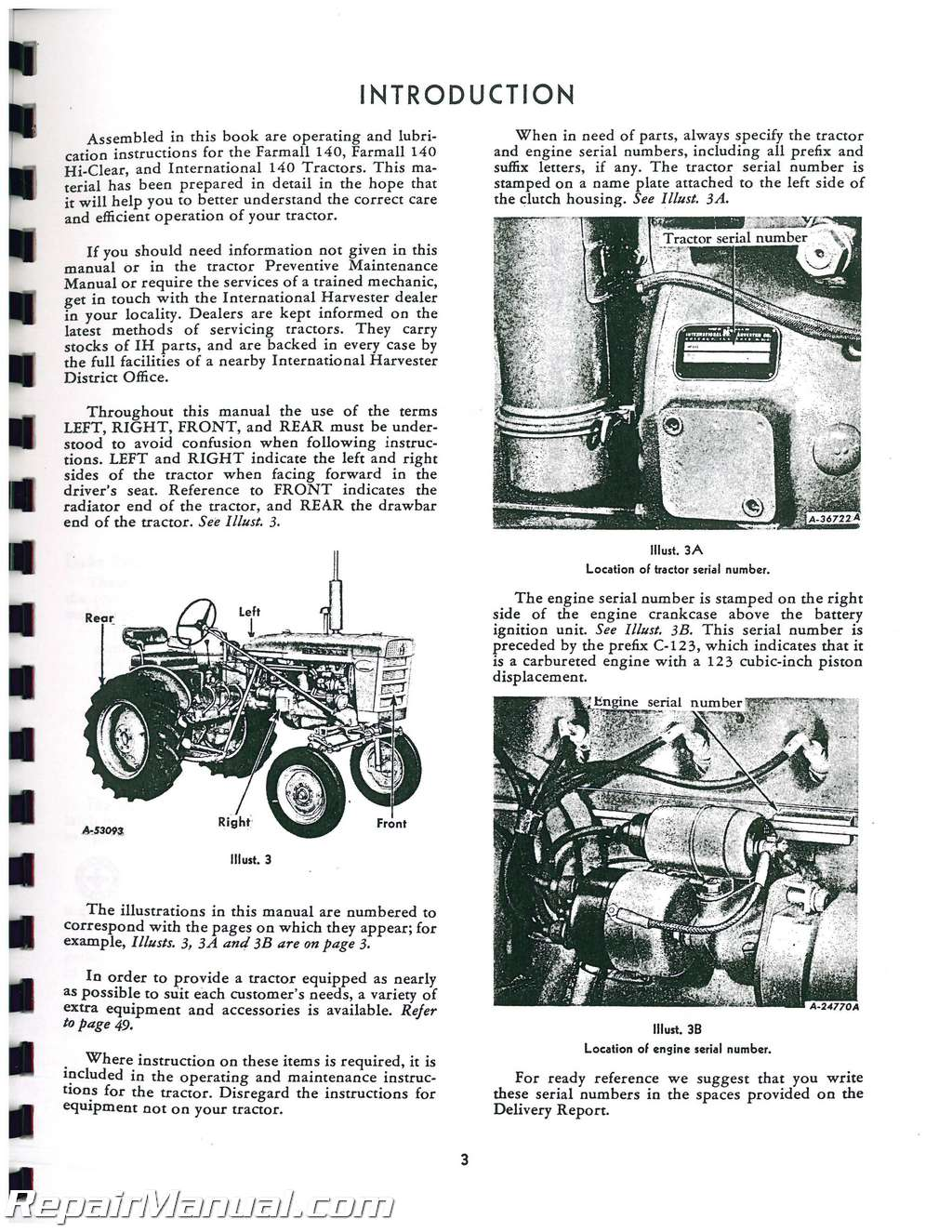 international harvester farmall 140 operators manual   js