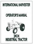International Harvester Farmall 2404 Operators Manual