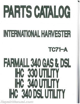 international harvester farmall 340 parts manual