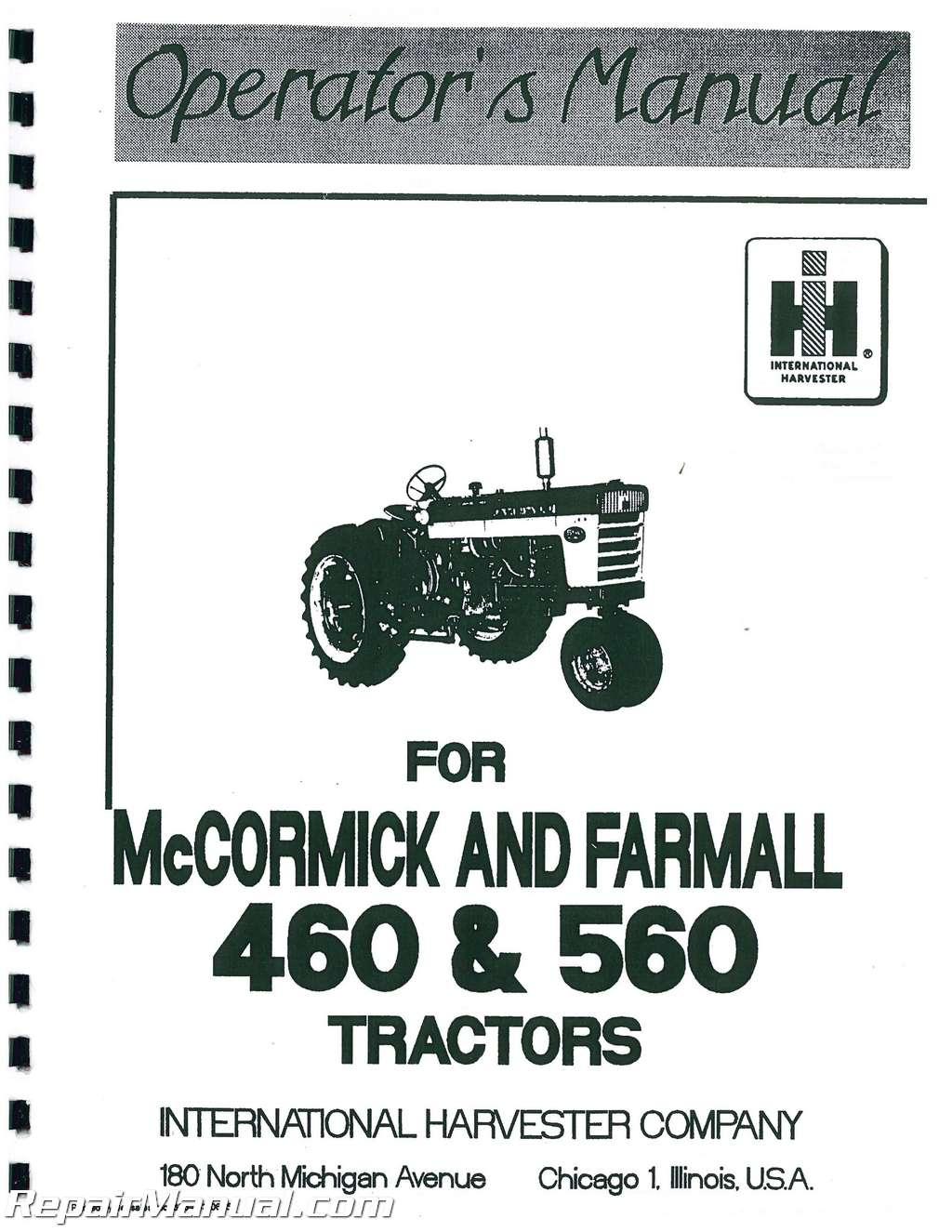international harvester farmall 460 560 operators manual rh repairmanual com Farmall 140 Specifications Farmall 140 Specifications
