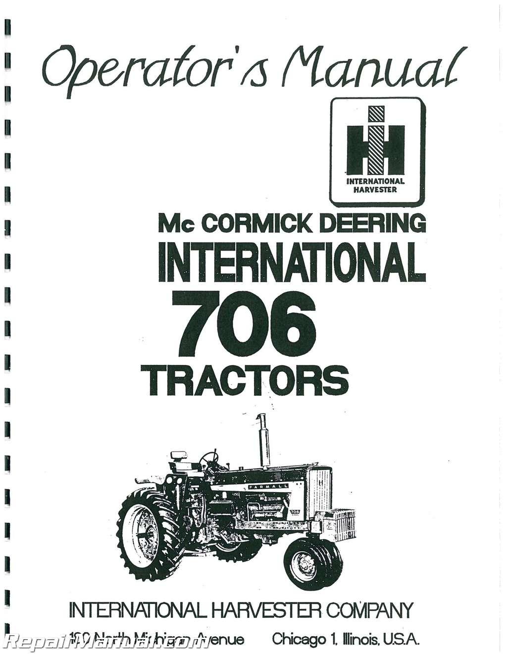 International Harvester Farmall 706 Gas And Diesel Operators Manual