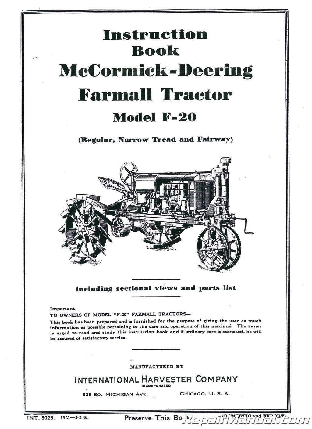 IH McCormick Tractor Parts Manual Catalog Regular /& Fairway
