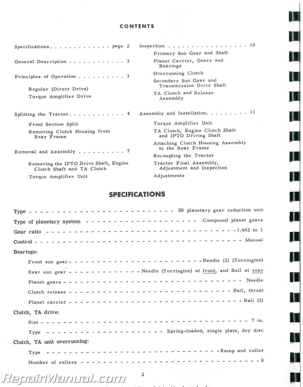 International Harvester Farmall Super M Super Mta Super W Ta Service Manual